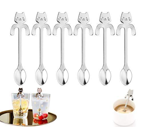 6 piezas de cuchara de café para gato de acero inoxidable 304, cuchara de postre de cuchara de té con diseño colgante de gato, utilizada para agua, leche, café, postre, utensilios para mezclar batidos