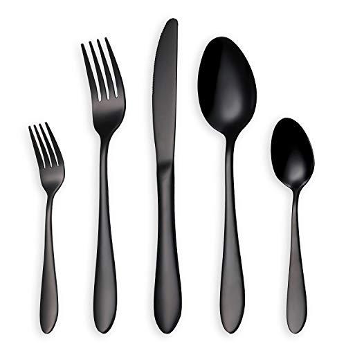 HOMQUEN Black Cubiertos/Juego de Cubiertos, 30 Piezas Stainless Steel Knife Fork Set para 6 Personas (Negro, 6 Juegos)