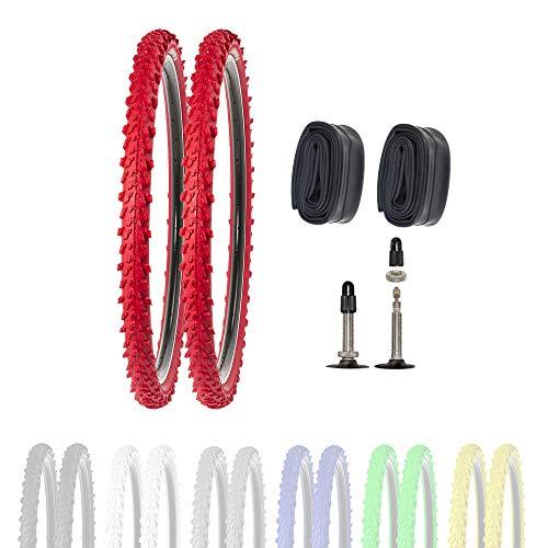 P4B   2 neumáticos de bicicleta de 26 pulgadas 50-559 con cámaras SV en color rojo   26 x 1,95   buen agarre en caminos de campo y terreno suelto gracias a los tacos exteriores e interiores.
