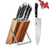 AICOK Juego de bloques de Cuchillo cocinero profesional | 6 piezas | Extra fuerte | acero inoxidable | mangos ergonómicos | Acero inoxidable de alto carbono