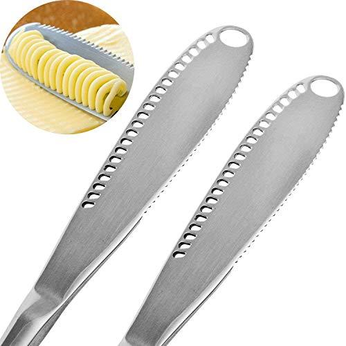 Cuchillo de Mantequilla,DBAILY 4PCS 3 en 1 Cuchillo de Mantequilla Acero Inoxidable con Borde Dentado para Cortar Queso de Frutas y Verduras(Oro, plata, oro rosa, negro)