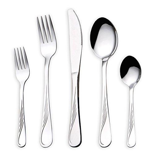 HOMQUEN Set de Cubiertos de Acero Inoxidable de 30 Piezas, Cubiertos de Platería, Cuchillos, Tenedores, Cucharas, Set para 6 Personas (Cubiertos, 6 Sets)