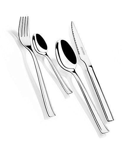 Monix Europa - Set de cubiertos 24 piezas de acero inoxidable con cuchillo chuletero, acabado pulido brillo (Braisogona_M180974)