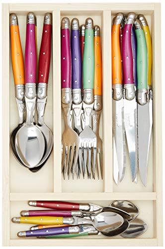 Laguiole Jean Dubost 07/13152 - Cubiertos y cubertero de madera, surtido: modelos/colores aleatorios, 24 unidades