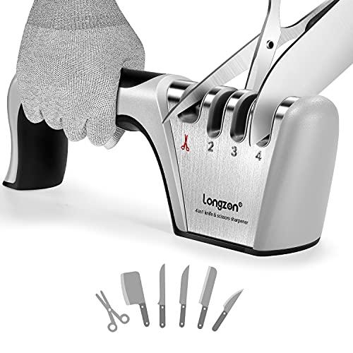 longzon Afilador de Cuchillos, Afilador de Cuchillos Profesional, Knife Sharpener, 4 en 1 Afilador de Cuchillos Manual para Cocina con Un par de Guantes Antideslizantes, para Cuchillos y Tijeras