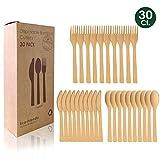 FAPPEN - Juego de 30 cubiertos de madera de bambú, desechables, biodegradables, respetuosos con el medio ambiente, para fiestas, camping, viajes y barbacoas, 10 tenedores, 10 cuchillos, 10 cucharas