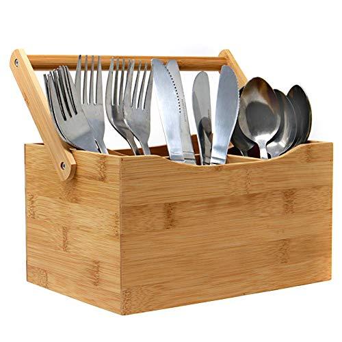 Utensilio de bambú para cubiertos   Bambù Organiser   4 compartimentos para cubiertos y condimentos   Manija desplegable   hogar o restaurantes   M&W