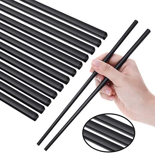 Juego de 12 Pares de Palillos, Palillos Reutilizables de Fibra de Vidrio Juego de Palillos de Lavavajillas de Peso Ligero Seguros (9 Pulgadas, Negro)