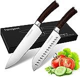 homgeek Cuchillo de Cocina Profesionales, Incluye Cuchillo Cocinero 7' and Cuchillo Santoku 8', Hecho de Acero Inoxidable 1.4116 Alemán, Mango Ergonómico