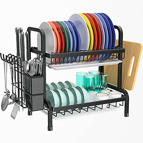 Escurridores de platos con bandeja de goteo, estante grande de 2 niveles con tabla de drenaje y cubiertos/soporte para tabla de cortar sobre el fregadero, estante para secadora de platos
