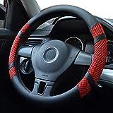 Pahajim Cubierta de volante de cuero de microfibra para automóvil Seda del Hielo Respirable Coche 38 cm,Universal,Antideslizante,Confortable(Rojo) …