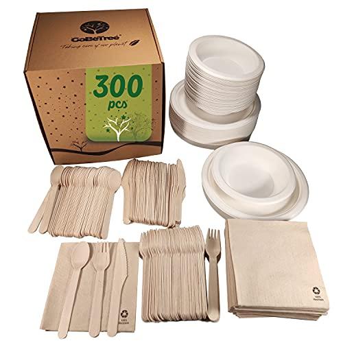 Vajilla desechable de 300 Piezas para 50 Personas. Vajilla ecológica de caña de azúcar Incluye 50 Platos, 50 Cuencos, 150 cubiertos de madera y 50 servilletas