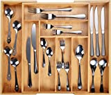 Bandeja de cubiertos de bambú Harcas. 6-8 Compartimento porta utensilios para el cajón. Organizador de gran tamaño extensible