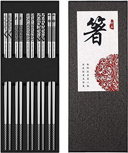 Palillos chinos acero inoxidable, (5 Pares)japoneses metal Sushi palillos regalo principiante Corea, restaurante Reutilizable lujoso palillos