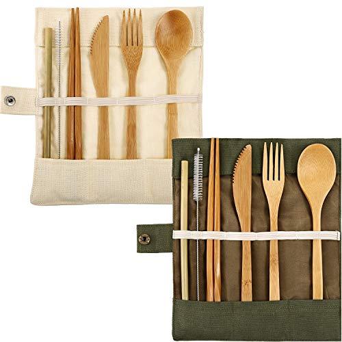 2 Juegos de Cubertería de Bambú Juego de Cubiertos Utensilios de Viaje de Bambú Incluye Cuchillo Cuchara Tenedor Palillos Pajitas Reutilizables (Blanco y Verde)