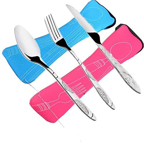 6 PCS Juegos de cubiertos Cuchillos, tenedores, cucharas, Paquete de 2 vajillas de acero inoxidable ligero vajilla con maletín perfecto para Caminando Camping Picnic Trabajando Caminando Inicio.