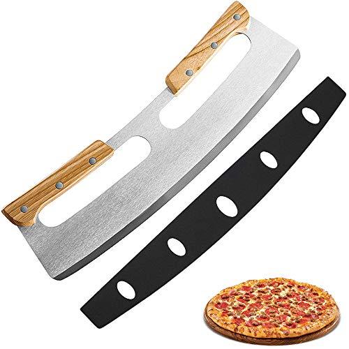 munloo Cortador Pizza, Corta Pizza Profesional Cortador de Pizza de Acero Inoxidable de 35 cm con Mango de Madera, Cuchillo Pizza Rápido e Incluso Profesional (Plata)