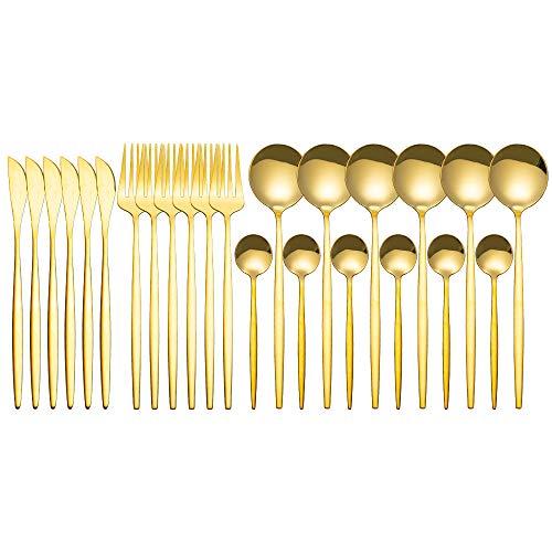 Juego de cubiertos de 24 piezas, cocina de acero inoxidable brillante y fino, cubiertos para el hogar, cocina, hotel y restaurante (dorado)