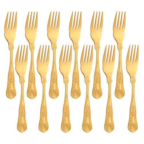 Juego de tenedor de pescado Buyer Star de 12 piezas, juego de cubiertos de acero inoxidable dorado para la cocina y el restaurante en el hogar, vajilla con espejo