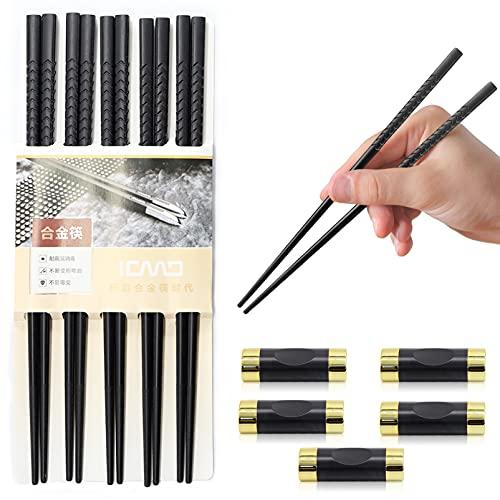 5 Pares Palillos Japoneses,Palillos de Aleación De Reutilizables,Palillos de fibra de vidrio,con 5 Piezas soporte,para Juegos de vajilla de Mesa con Lujo Negro Hecho a Mano,apto para lavavajillas