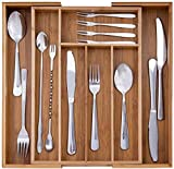Bandejas Para Cubiertos Bambú, 5 a 7 Compartimentos Organizador de Cajones de Cocina, Bandeja Cubiertos Cajon, Se Extienden Hasta 14.3 x 13.9 Pulgadas