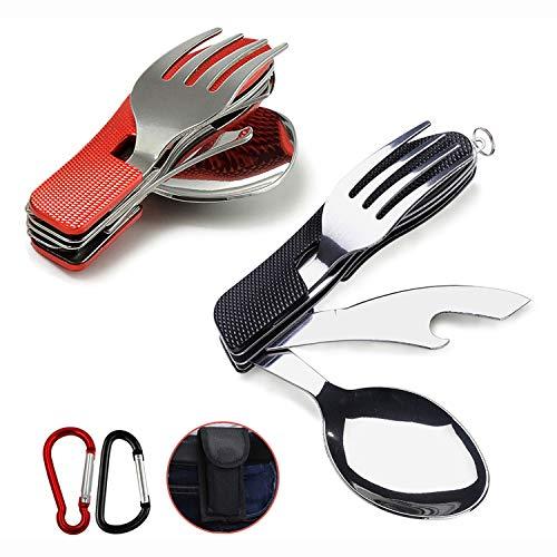AMZANDY NEW Juego de 2 cubiertos plegables de acero inoxidable 4 en 1, mango de aluminio, para supervivencia al aire libre (cuchillo, tenedor, cuchara, abrebotellas, etc.)