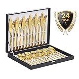 Velaze Juego de Cubiertos Set 24 Piezas de Acero Inoxidable 18/10 Vajilla para 6 Personas, 6 Cuchillo de Mesa, 6 Tenedor, 6 Cuchara, 6 Tenedor Postre - Oro (E24)