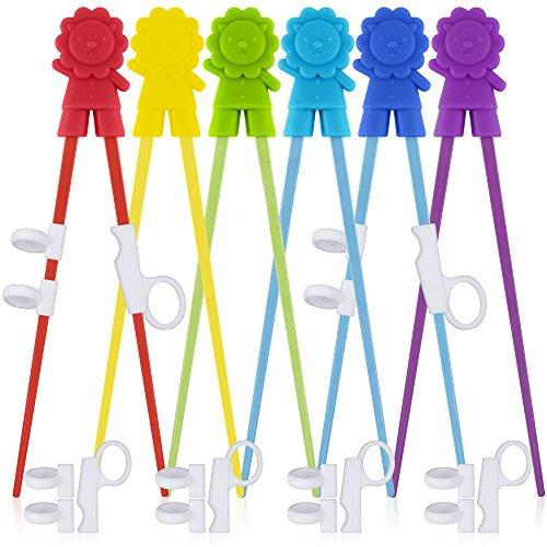 SourceTon 6 pares de palillos de entrenamiento fáciles de usar con ayudantes, palillos de entrenamiento para diestros o zurdos, adolescentes, adultos y principiantes