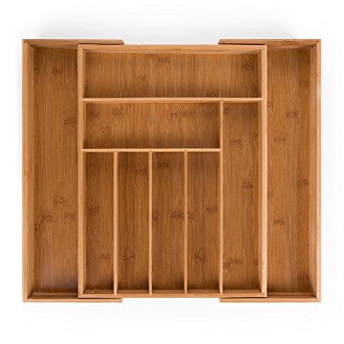 Blumtal Organizador de Cubiertos y cajones de Cocina con Compartimentos Ajustables de Bambú(Grande)