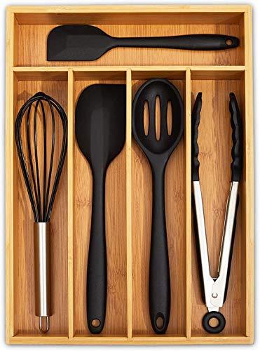 simpdecor Bandeja de cubiertos de bambú para cajón de cocina, organizador de cajones de cocina, soporte para utensilios, 5 compartimentos