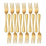 Buyer Star - Cubertería (12 unidades, acero inoxidable), color plateado 12 Fish Forks dorado