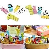 Tenedor de Fruta Animal para Niños Mini Plástico Bento Picks Fruit Fork palillo de comida de dibujos animados lindo tenedores de postre para fiesta de niños/Bento/Lonchera- 20 piezas