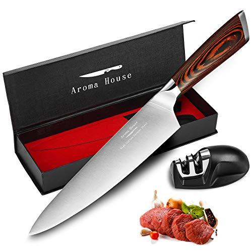 Cuchillo Chef de 20 cm, Cuchillos de cocina profesionales de acero inoxidable alemán, Cuchillo de cocina de verduras de carne con mango ergonómico Pakkawood antideslizante, Caja de regalo …