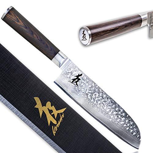 KIROSAKU Cuchillo Japonés Santoku 18 cm – Cuchillo de Cocina – Cuchillo Santoku Extremadamente Afilado – Cuchillo de Cocina Acero de Damasco para un Corte Increíble