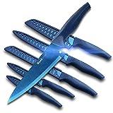 wanbasion Azul Juego de Cuchillos de Cocina Acero Inoxidable, Set de Cuchillos de Cocina Profesional Chef, Juego de Cuchillos de Cocina Los Mejores Cocinero a Prueba de Herrumbre