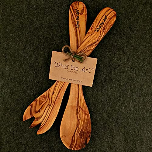 What the Art!® Olive Wood «Servidor» L | Servidores de ensalada de olivo + regalo | 30 cm