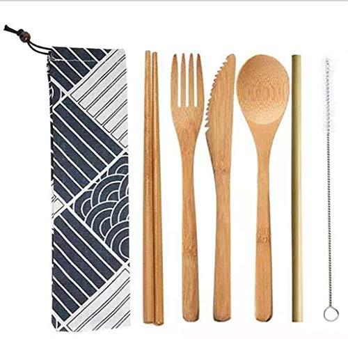 Cubiertos de Bambú, Juegos de Cubiertos de Bambú Reutilizables, Tenedores Cuchillos Palillos cucharas pajitas cepillos Bolsa de Tela con y Cepillo Limpio. para Viajes de Camping y Diario