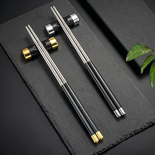 Hongyantech 2 pares de palillos comedores negros de fibra de vidrio de acero inoxidable + 2 soportes para palillos chinos, palillos para sushi, reutilizables, lavables, con caja de regalo