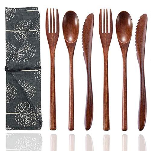 Censsa Juego de cubiertos reutilizables de madera para utensilios de viaje, 2 cucharas + 2 tenedores y 2 cuchillos, cucharas y tenedores de madera portátiles con estuche 2 juegos de cuchillas