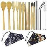 YuCool - Juego de cubiertos de bambú (2 unidades, incluye cuchillo, tenedor, cuchara, palillos y cepillo de bambú con pajitas de acero inoxidable, cepillo y bolsa de transporte)