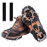 Crampones,19 Garras de Dientes Crampones Cubierta Antideslizante de Zapatos con Cadena de Acero Inoxidable para Excursiones Pesca Escalada Trotar Montañismo Caminata sobre Nieve y Hielo(Negro, M)