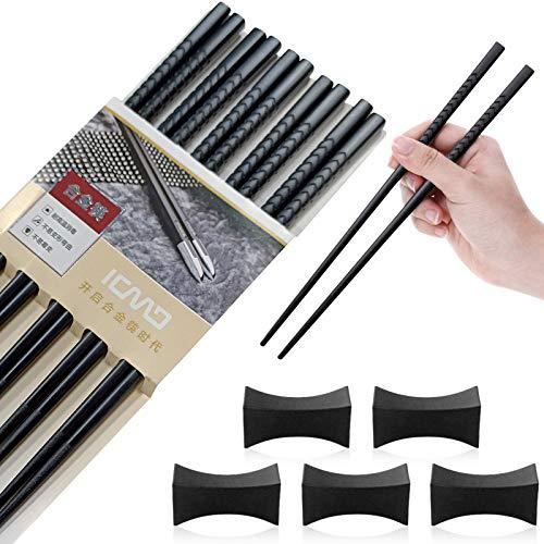 5 Pares Palillos de Aleación,Chinos Reutilizables con 5 Piezas soporte,Palillos japoneses,Palillos de fibra de vidrio,para Juegos de vajilla de Mesa con Lujo Negro Hecho a Mano