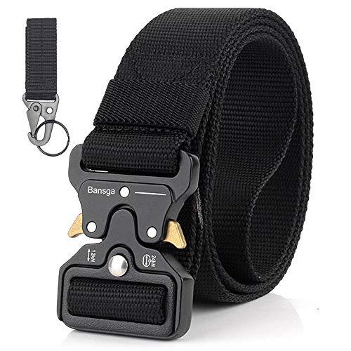 Bansga Cinturón Táctico de los Hombres Estilo Militar con Nosotros Cinturón de Nylon de Alta Resistencia Para el Entrenamiento de Caza Ejército Que se Ejecuta(A-Negro)