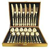 Magicpro Modern Royal - Juego de cubiertos de acero inoxidable dorado de 24 piezas para bodas, festivales de Navidad, servicio para 6