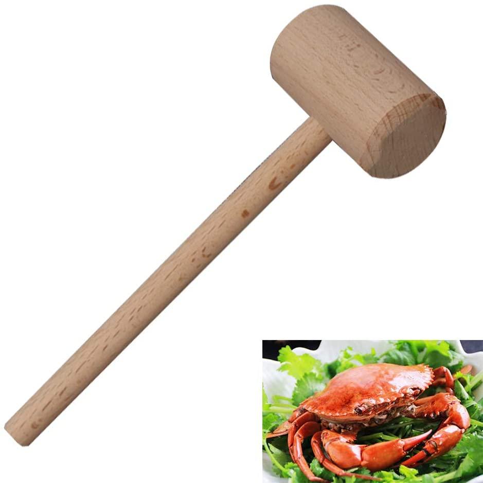 Mazo de madera de mariscos, mazo de cangrejo, galleta de cáscara sin pintar mazo de madera de haya