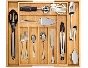 Artisware Bamboo Organizador del cajón Extensible, Cubiertos y Bandeja utensilio (7 Compartimentos Ampliable)