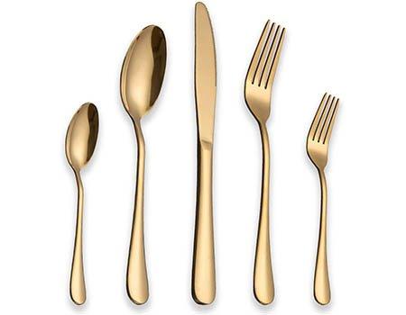 BERGLANDER Set de Cubiertos de Acero Inoxidable 30 Piezas con Chapado en Oro de Titanio, Set de Cubiertos de Color Dorado, Cubiertos, Servicio de cubertería para 6 (30 Piezas)