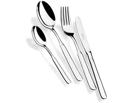 Set 24 piezas cubiertos de acero inox 18//10 con cuchillo chuletero y estuche Nogal Monix Venecia 6 comensales