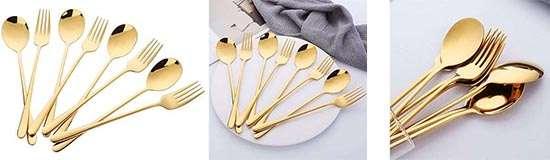 Buyer Star 8 cubiertos dorados de mesa para comprar
