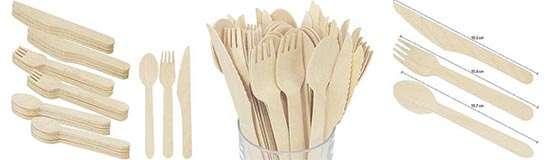 COM-FOUR 72 Piezas cubiertos desechables hechos de madera bio